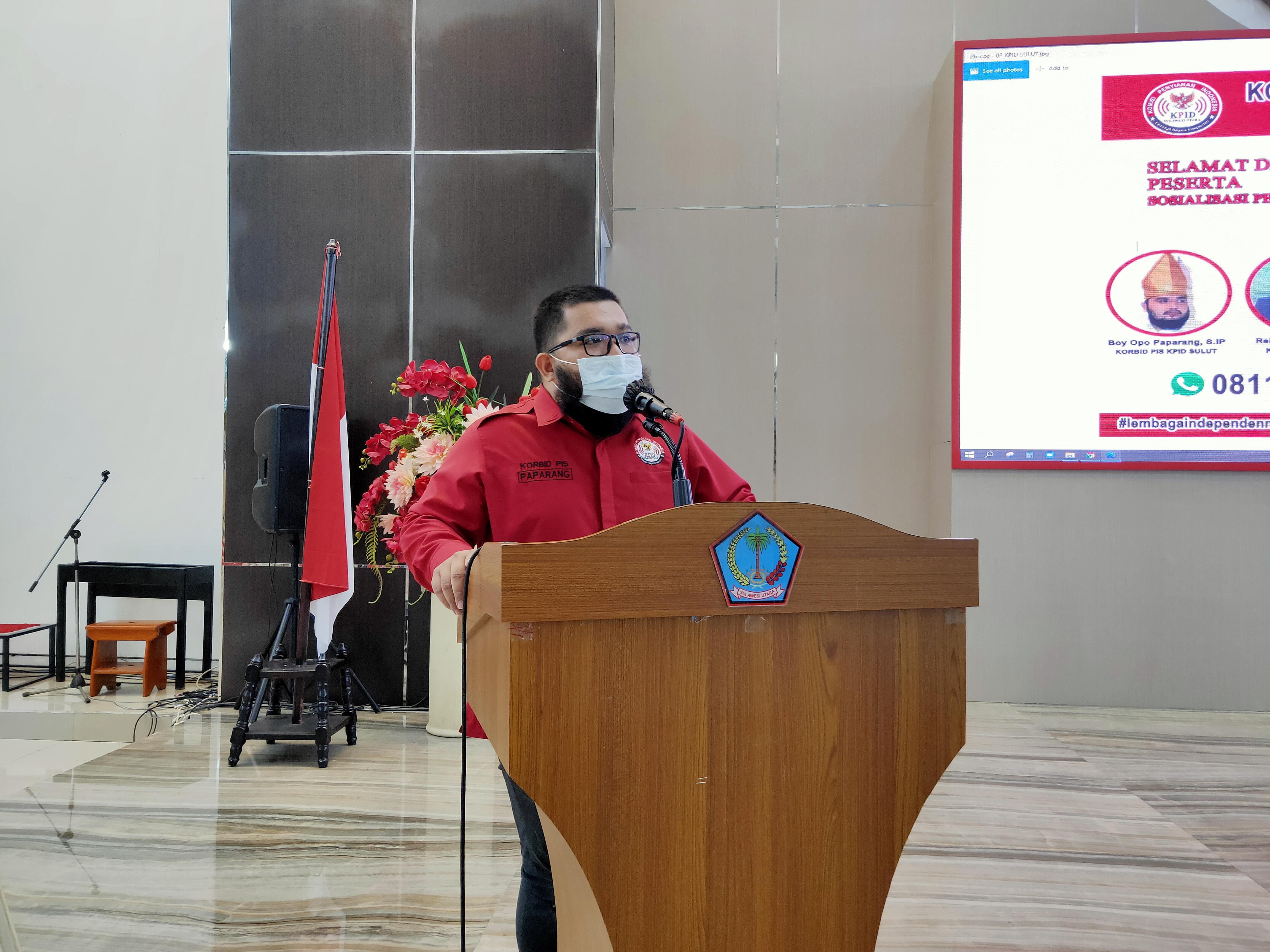 MANADO - Koordinator Bidang Pengawasan Isi Siaran, Boyke R. Paparang, S.IP